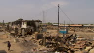 Destroyed township of Bor in South Sudan after fighting between government and rebel forces