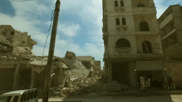 Destruction caused to buidings in Northern Aleppo Syria caused by the conflict with Islamic State