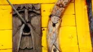Detail of a old viking boat at harbor