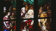 CU R/F Detail of stained glass in church / Milan, Italy