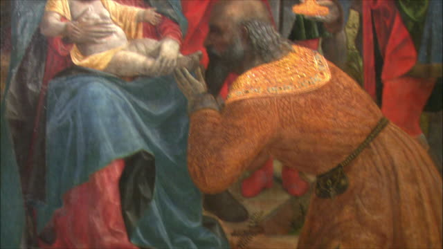 CU TU TD Detail of The Adoration of the Kings by Vincenzo Foppa, oil on poplar, circa 1500 / The National Gallery, London, United Kingdom