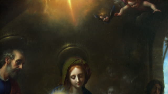 CU TD Detail of The Adoration of the Magi by Carlo Dolci, oil on canvas, 17th century / The National Gallery, London, United Kingdom