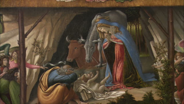 CU TU Detail of The Mystical Nativity by Sandro Botticelli, tempera painting of circa 1500-1501 / The National Gallery, London, United Kingdom