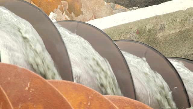 Detail shot of water being processed in hydro screw