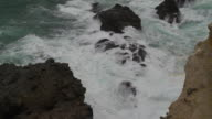 Detail shot of waves crashing on coastal cliffs