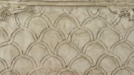 ECU details of arabesque stone carvings in synagogue