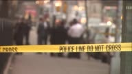 NYPD detectives behind yellow 'Police Line Do Not Cross' tape while investigating a crime scene background blurred