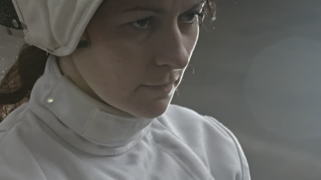 Determined female fencer