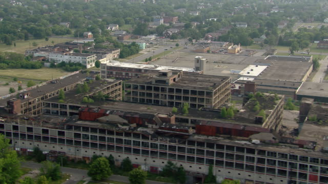 Detroit's Packard Automotive Plant, fallen into ruin and being reclaimed by nature.