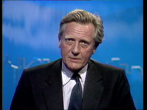 Political effects ENGLAND Newcastle CMS Michael Heseltine MP intvwd SOF We joined ERM to maintain strength of sterling but that has been destroyed by...