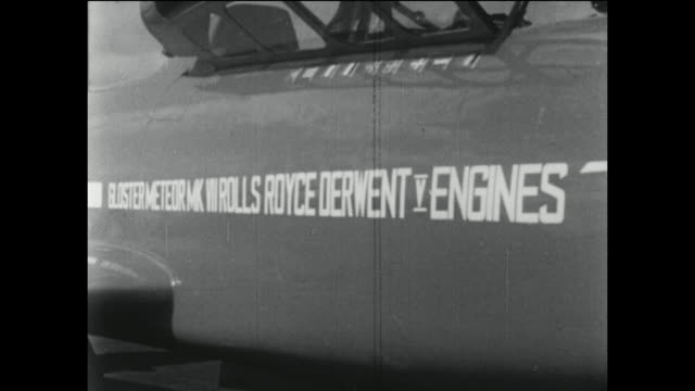 Development of the jet engine in the United Kingdom featuring scenes at Farnborough Air Show in 1948 beginning with the Gloster Meteor Trainer with...