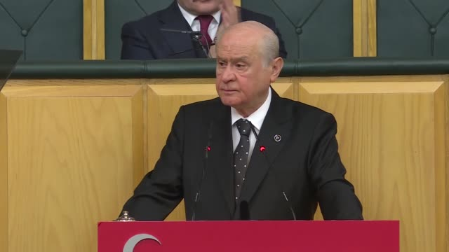 Devlet Bahceli leader of opposition Nationalist Movement Party speaks at parliamentary group meeting of MHP lawmakers at the Grand National Assembly...