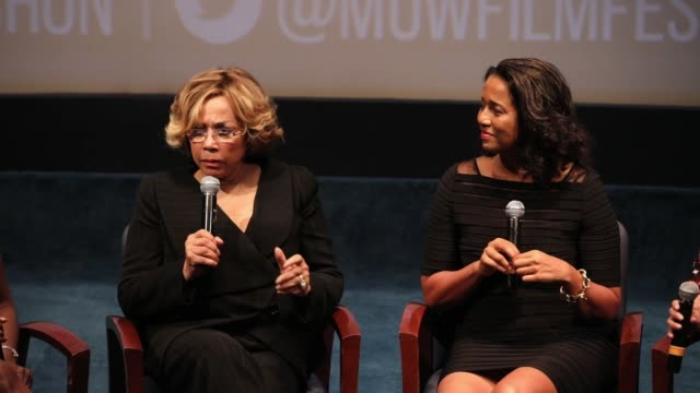 Diahann Carroll and filmmaker Suzanne Kay speaks on a panel to help promote a documentary on Ed Sullivan the TV host who helped Black artists break...