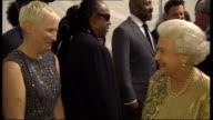 Queen Elizabeth meeting performers Queen Elizabeth introduced to comedians Lee Mack and Lenny Henry Queen Elizabeth introduced to Stevie Wonder Queen...