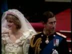 Part 5 111245 Wedding of Charles and Diana ENGLAND London St Paul's Cathedral Diana walking along aisle before service Top view of Prince Charles and...