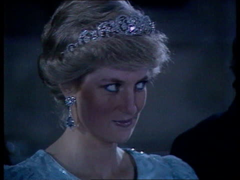 Part 5 120172 Banquet at Government House during New Zealand tour NEW ZEALAND Wellington Close shot of Diana in tiara and blue evening dress looking...