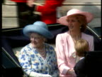 Part 5 CR486 Trooping the Colour Procession ENGLAND London Buckingham Palace Princess Diana seated with the Queen Mother in carriage camera pans left...