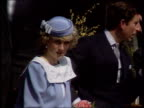 Part 5 INJ1647E Prince and Princess of Wales Location unknown Diana in lilac dress and hat seated alongside Prince Charles