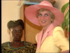 Part 5 SPL0627 Diana On Her Own Princess Diana Location unknown Close shot of Diana in pink hat pink yellow outfit