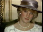 Part 5 SPL0628 Tears Of A Princess Princess Diana Location unknown Head and shoulders shot of Diana in mauve hat and mauve white top with pearl...