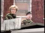 Part 5 SPL0628 Tears Of A Princess Princess Diana with soldiers Location unknown Diana in army fatigues as driven in armoured patrol car Diana...