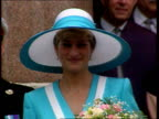 Part 5 T06099211 Princess Diana Location unknown Diana in turquoise white large hat and matching outfit smiling
