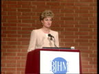 Part 5 T27049301 Princess of Wales speaks about eating disorders ENGLAND Kensington Town Hall Diana in light brown suit making speech on eating...