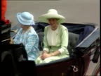 Part 5 ULM3409 Trooping the Colour procession ENGLAND London The Mall Diana in green in carriage past camera pans right to left as reveals she is...