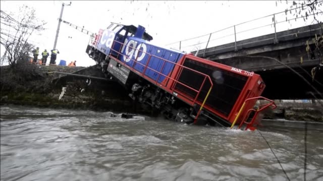 A diesel locomotive derailed into the Venoge river Friday near Penthalaz in Western Switzerland CLEAN Switzerland a freight locomotive on March 08...