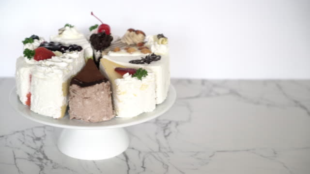 different pieces of cake on stand