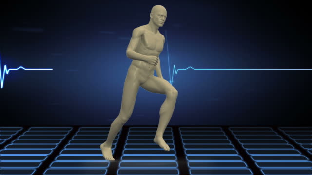 Digital body running on ECG background