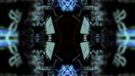 A digital kaleidoscope of blue data.