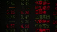 A digital stock ticker displays stock prices in English and Chinese. Available in HD.