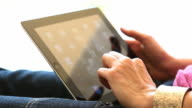 Digital tablet female hands close.