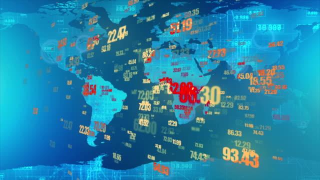 Digitale wereldkaart met aantallen en lijnen