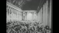 VS dignitaries in the Hall of Mirrors at the Palace of Versailles during the Paris Peace Conference after end of World War I / Note exact month/day...