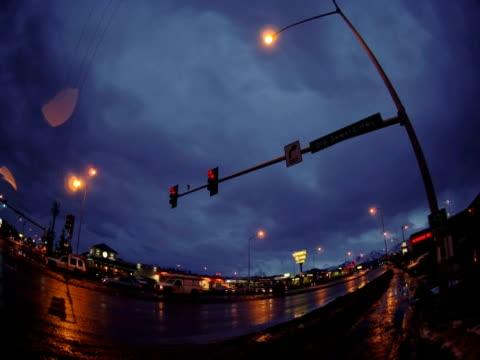 T/L Dimond Mall at dawn, fisheye view, Anchorage, Alaska, USA