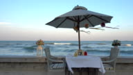 Dinner set on the beach