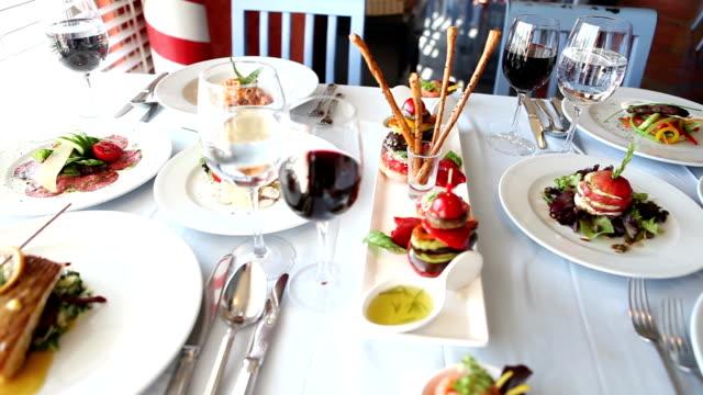 Dinner Table and Italian Food