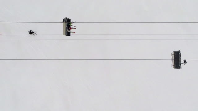 Directly above shot of people riding ski lift
