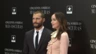 Director James Foley author E L James actress Dakota Johnson and actor Jamie Dornan attend 'Fifty Shades Darker' premiere at the Kinepolis cinema