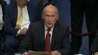 Director of National Intelligence Dan Coats delivers a threat assessment statement at an annual hearing of the Senate Select Committee on...