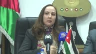 DirectorGeneral of the World Trade Organization Roberto Azevedo and Minister of industry trade and supply of Jordan Maha Ali hold a press conference...