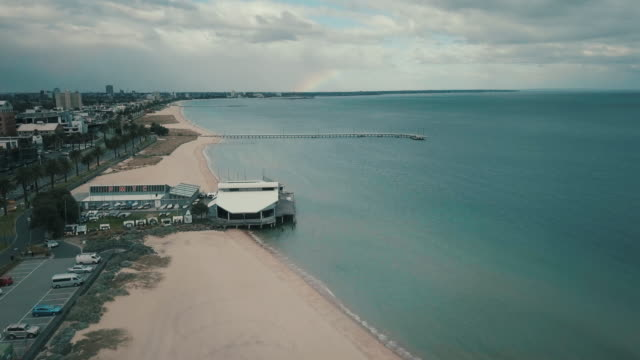 Discovering Australia: Aerial view of Port Melbourne beach with rainbow