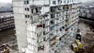 Dismantling of a building aerial shot