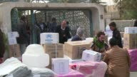 Displaced Iraqis who fled Anbar province's flashpoint alBaghdadi district due to advances and a siege by Islamic State group militants received aid...