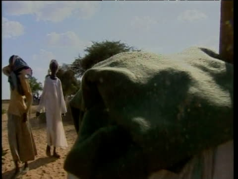Displaced Sudanese women walking along desert road with donkey carrying possessions Darfur Sep 04