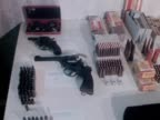 A display of arms and ammunitions recovered during an armed forces operation on Newtownards Road