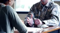 Distressed military veteran talks with psychiatrist