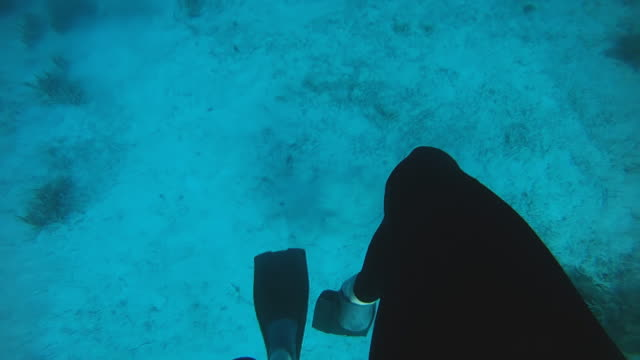 HD SLOW MOTION: Diver Swimming Back To Surface